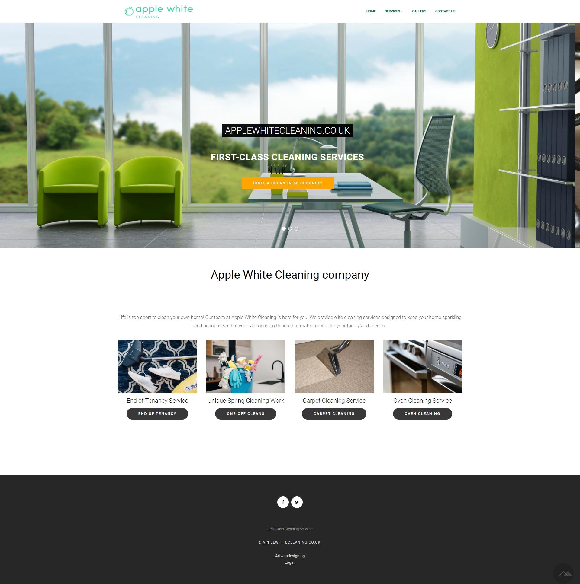 Уеб сайт на фирма за почистване в чужбина Applewhite
